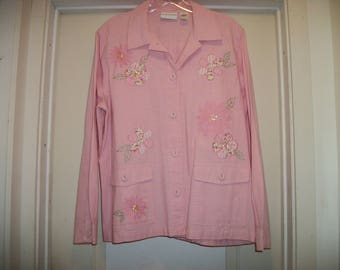 Retro 90s Does Darling PRETTY In PINKS FLOWERS Applique Cottony Shirt, Jacket, Alfred Dunner, 12