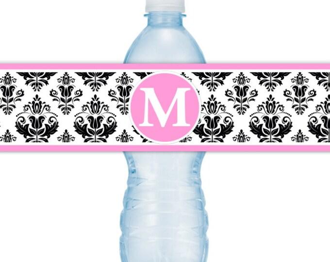 Monogram Water Bottle Labels - CUSTOM Printable Damask Water Bottle Labels, YOU print, you cut, DIY water bottle labels