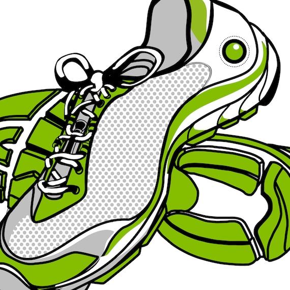Running Shoe Clipart, Marathon Clipart, Fitness Clip Art, 5K Clip Art