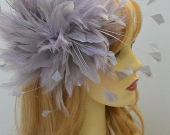 Silver/Pewter/Grey feather fascinator