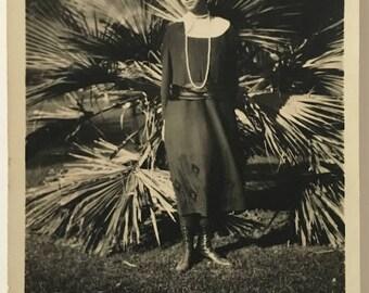 "Vintage Photo ""My Beautiful Aunt"" Snapshot Antique Black & White Photograph Paper Found Ephemera Vernacular Interior Design Mood - 100"
