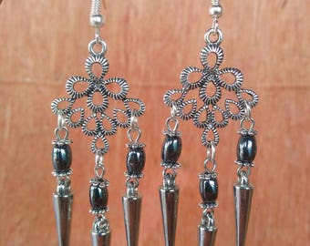 Antique Silver Dreamcatcher Womens Earrings, Dream Catcher Best Friend Birthday Gift For Her Funky Punk Beaded Spike Hematite Goth Tribal