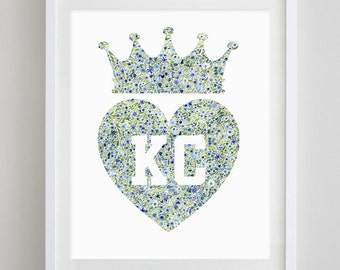 Kansas City Takes The Crown Heart Floral Watercolor Print