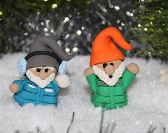 Gnome Snowball fight ~ Polymer Clay