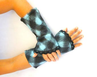 Fingerless gloves arm warmers Black wool and blue lace black - women gloves