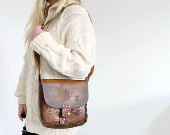 1970s Kathy's Last Supper Purse // Tooled Leather