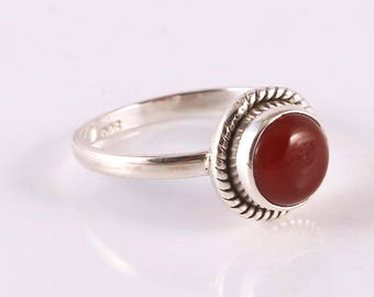 Carnelian 92.5 sterling silver ring size 6 us