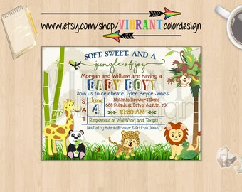 Zoo Baby Shower Invitation, Jungle Theme Baby Shower Invites,Baby Boy Shower Invite,Gender Neutral Baby Shower Invitation,Animal Baby Shower