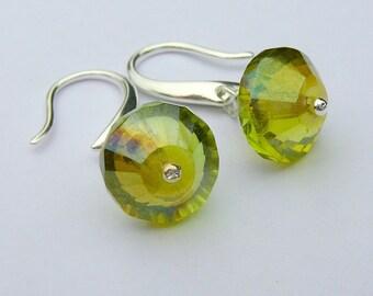 Olive Green Czech Glass Earrings