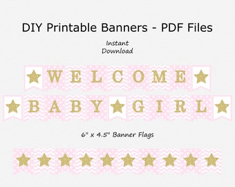 Welcome Baby Girl Banner - Pale Pink & Gold Sparkle - Twinkle Twinkle Little Star Baby Shower - PRINTABLE - INSTANT DOWNLOAD