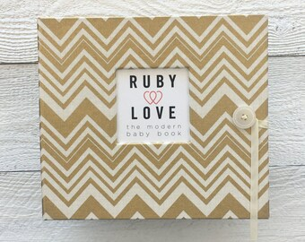 BABY BOOK | Gold Chevron Album