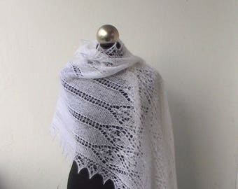Wedding shawl, White knit lace shawl, hand knitted lace stole , bridal shawl, knit wedding shawl, white kid mohair shawl,bridal cover up