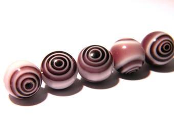6 10 mm beads - millefiori - eye of cyclone flower - toned purple F99 1 glass