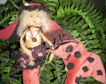 Alta's Heirlooms PRIMITIVE Antique Looking Art  OOAK Pink Angel Mermaid