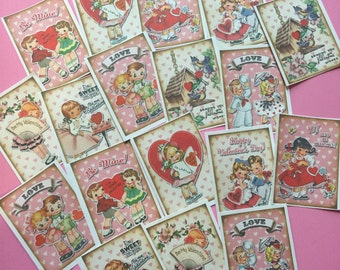 Valentine Stickers - Set of 18 - Handmade Stickers, Vintage Style, Vintage Valentine, Cute Planner Stickers, Cute Valentines, Valentines Day