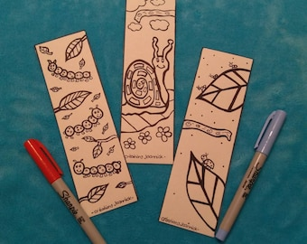 Bookmarks coloring, bookmark, coloring, kids, children, snail, thousand feet, ants, caterpillars party