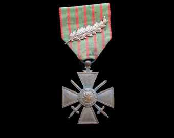 Antique French WW1 Service Medal on Original Ribbon