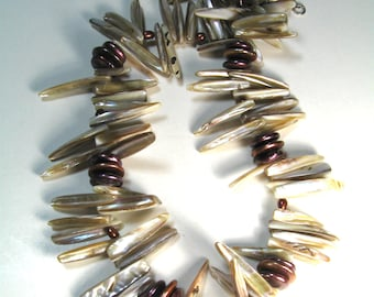 Pearl Necklace, Mother of Pearl Spike Beads, Freshwater Pearl Coins, Bohemian Chic Tribal Original OOAK