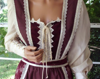 Gunne Sax Boho Dress of Calico and Corduroy with Tie Corset Vintage Large