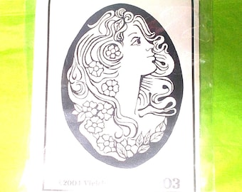 Cameo face rubber stamp Vickie Enkoff 203 2004 unmounted rubber stamp mixed media journaling junk journal supply collage stamping supplies