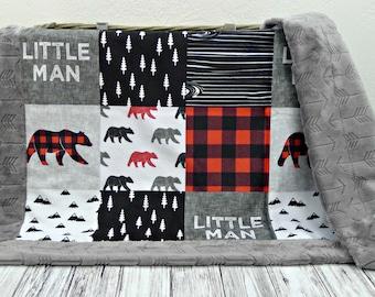 Buffalo Plaid Minky Baby Blanket - Buffalo Plaid Blanket Faux Quilt - Little Man Blanket - Lumberjack - Buffalo Check Baby Blanket Bear