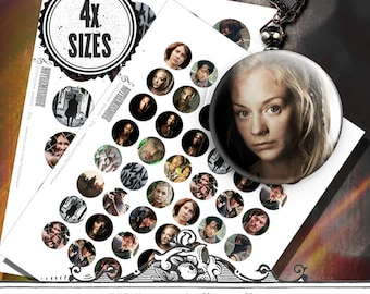 WALKING DEAD Digital collage sheet 1; 1,25; 1,5 and 2 inch,craft supplies,printables,bottlecaps,pendants,magnets,party stickers,circles