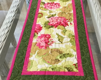 Quilted Table Runner, Botanical Table Runner, Floral Table Runner, Geraniums Table Runner, Table Linens, For Sale Table Runner,Ready to Ship