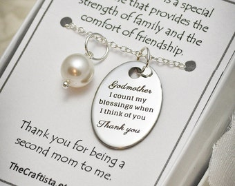 Godmother Necklace, GM, Baptism, Pearl Necklace, Godmother Gift, Godmother Jewelry, Godmother Pendant, Godmother Quote, Godmother Charms