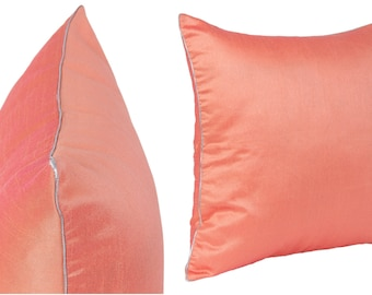 Set of 2 Solid Salmon Orange Pillow Covers With Silver/Gold Piping Sham Covers 14x14 16x16 18x18 20x20 22x22 24x24 26x26