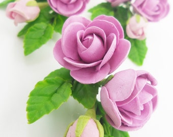 Miniature Polymer Clay Flowers Supplies for Dollhouse, Roses with set of leaves 3 Bunches