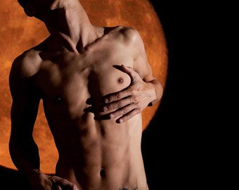 Starving for Touch Gay Art Male Art Digital Download JPG Photo by Michael Taggart Photography shirtless underwear torso abs tattoo moon