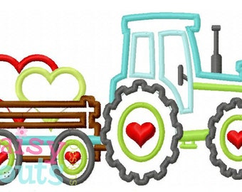 Tractor Pulling Hearts Machine Applique