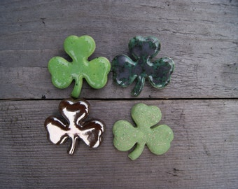 Clover brooch, shamrock brooch, clover pin, Shamrock pin, ceramic brooch, ceramic clover, St Patrick's Day pin, Green Shamrock Irish Clover