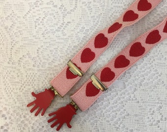 Vintage Suspenders, pink and red heart suspenders