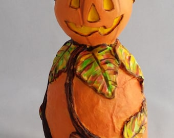 Small OOAK Roly Poly Pumpkin Halloween and Fall Decoration by Lori Platt The Pixie Knoll