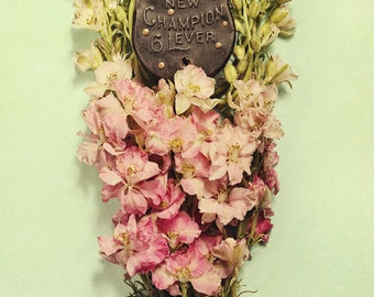My Little Secret Photograph, Locket, antique, green and pink photography with flowers