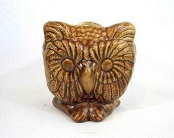 Vintage Ceramic 3 Faced Owl Planter. Circa 1960's.