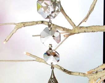 Crystal, Silver Filigree Teardrop Sun Catcher, Christmas Ornament, 1S-75