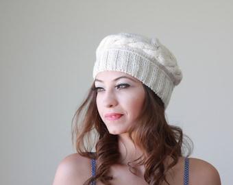 Beige knit cap, Womens gift, Trending knit hat - Ladies beret tam