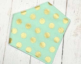 Bandana Bib, Drooler Bib, Bandana Baby Bib, Bibdana for Girl, Baby Girl Bib, Metallic Gold Polka Dots on Mint- GLITZ & GLAM MINT
