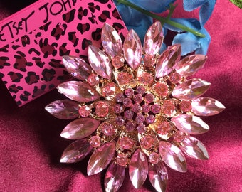 Large Crystal Pink  Rhinestones Pink Petal Flower Brooch with Gold Gift Box