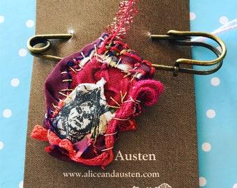 Red Queen Textile Brooch