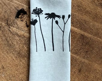 Black Wildflowers Screen Printed onto 100% Natural Linen Tea Towel, Wedding Gift