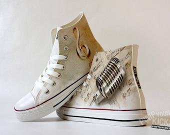 Singer, Microphone, Sheet Music, Custom Made Shoes
