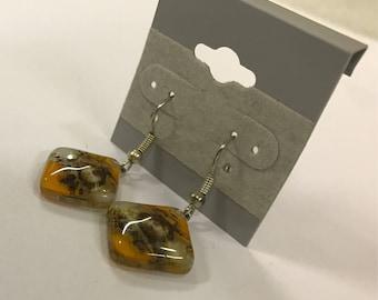 Fused Dichroic Glass dangle earrings- orange    / light coffee/clear   #59
