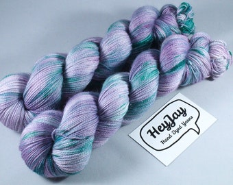 Hand Dyed Sparkle Merino Sock Yarn - Pickle