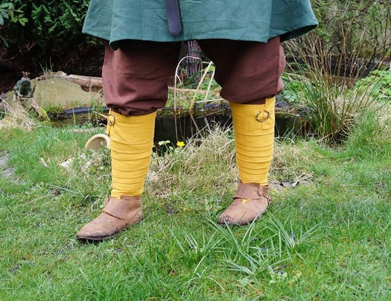 Viking Leg Wraps Winingas Medieval middleage reenactment romanic celtic germanic linnen ochre yellow larp fantasy FCBA7w5O