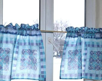 Turquoise curtains, Сafe curtains, Kitchen valance, Kitchen curtains, Сotton curtains, Farmhouse Curtains, Linen cafe curtains