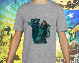 GORGO / Britain's Godzilla Fishing / Gray Child Size Performance T-Shirt