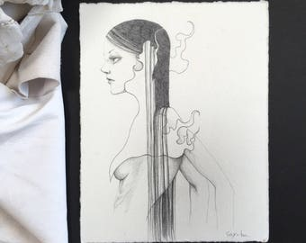"small Original pencil Sketch ""Untitled 225"" -lowbrow & pop surrealism art."